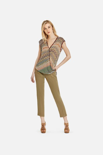 Pether trousers in jolie cadi 'fabric with pleats - Alga