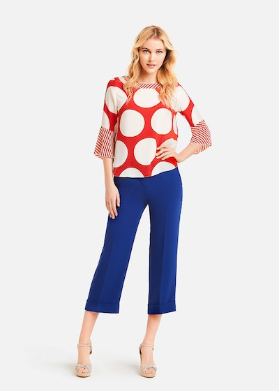 Cristiana blouse with polka dots and stripes pattern - White / Poppy Pois