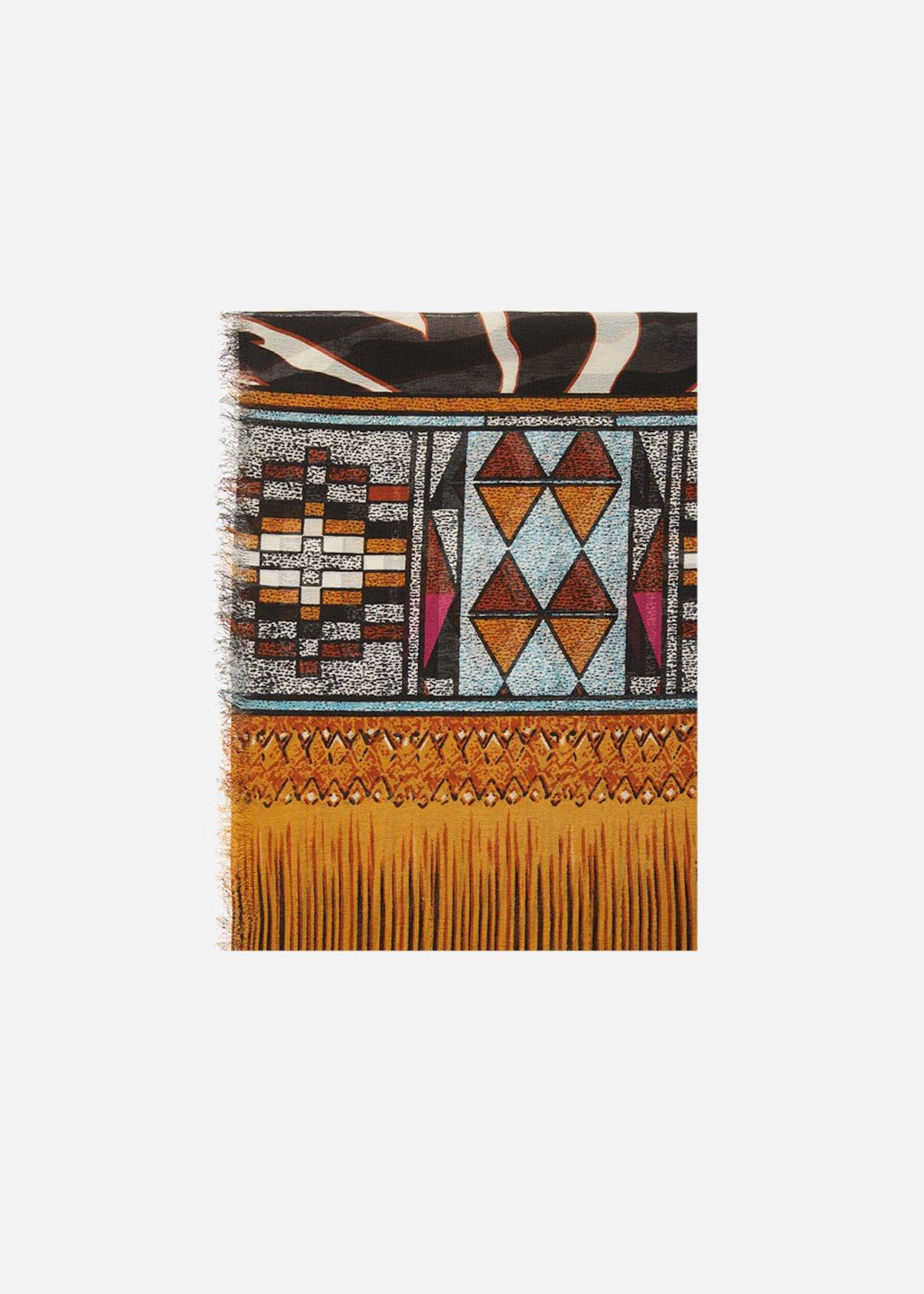 Sciarpa Safy con stampa tribale - Light Beige / Black Animalier