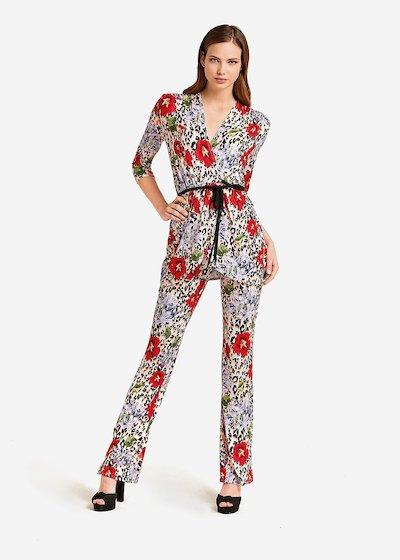Pantaloni Priamo stampa maculata con rose