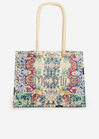 Brizia Jute bag India printed with sequin logo