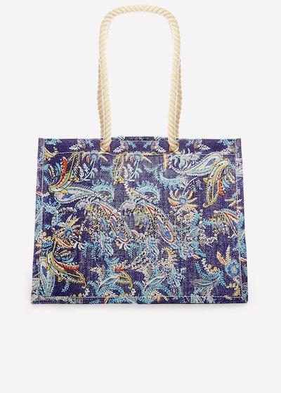 Berena Jute bag multicolour print with sequin logo