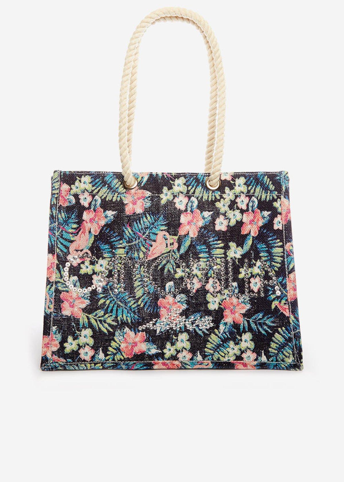 Juta bag Batea flamingo printed con logo di paillettes