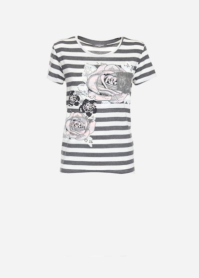 Sybil striped and floral t-shirt
