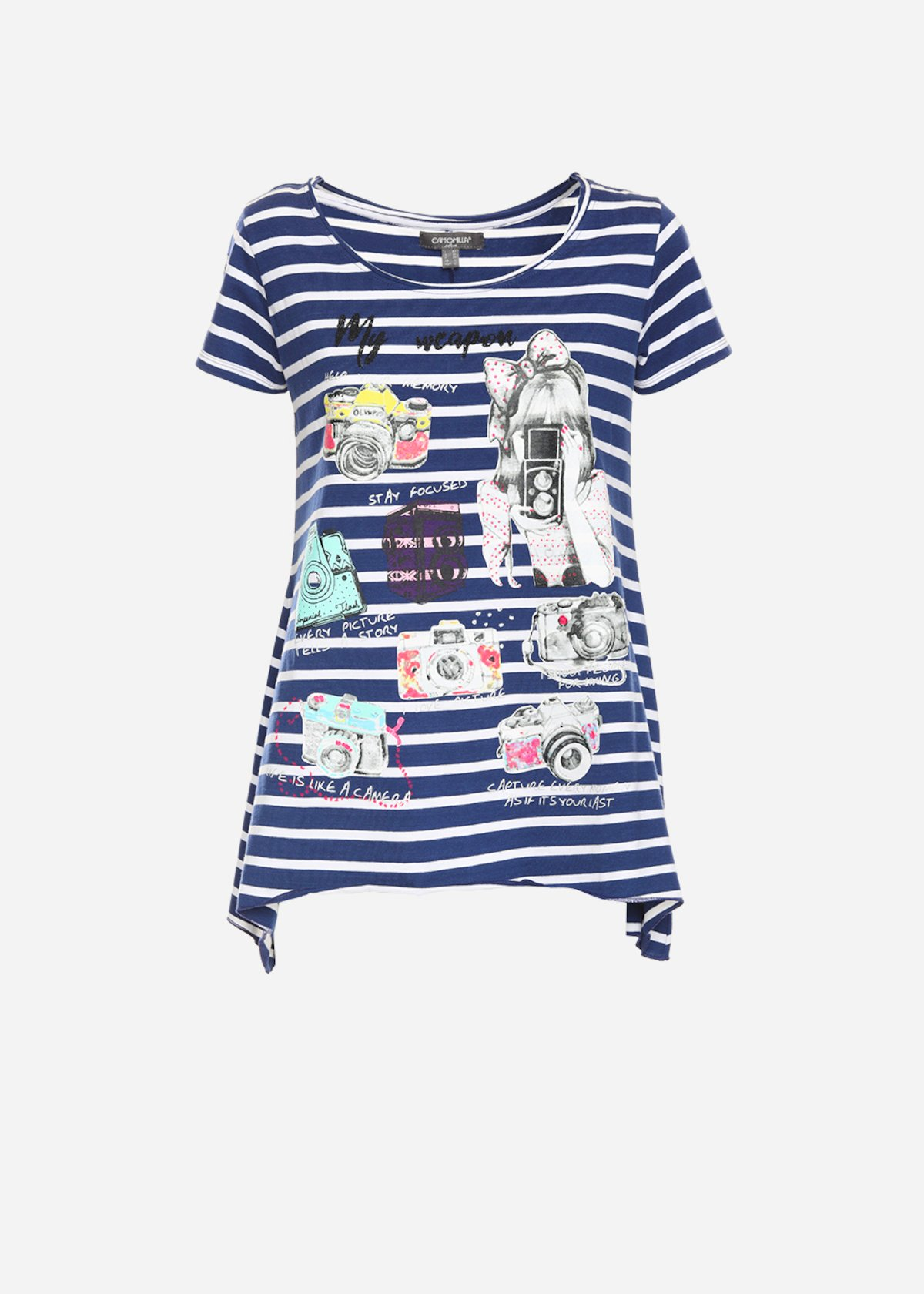 T-shirt Swami con stampa - Medium Blue / White Stripes