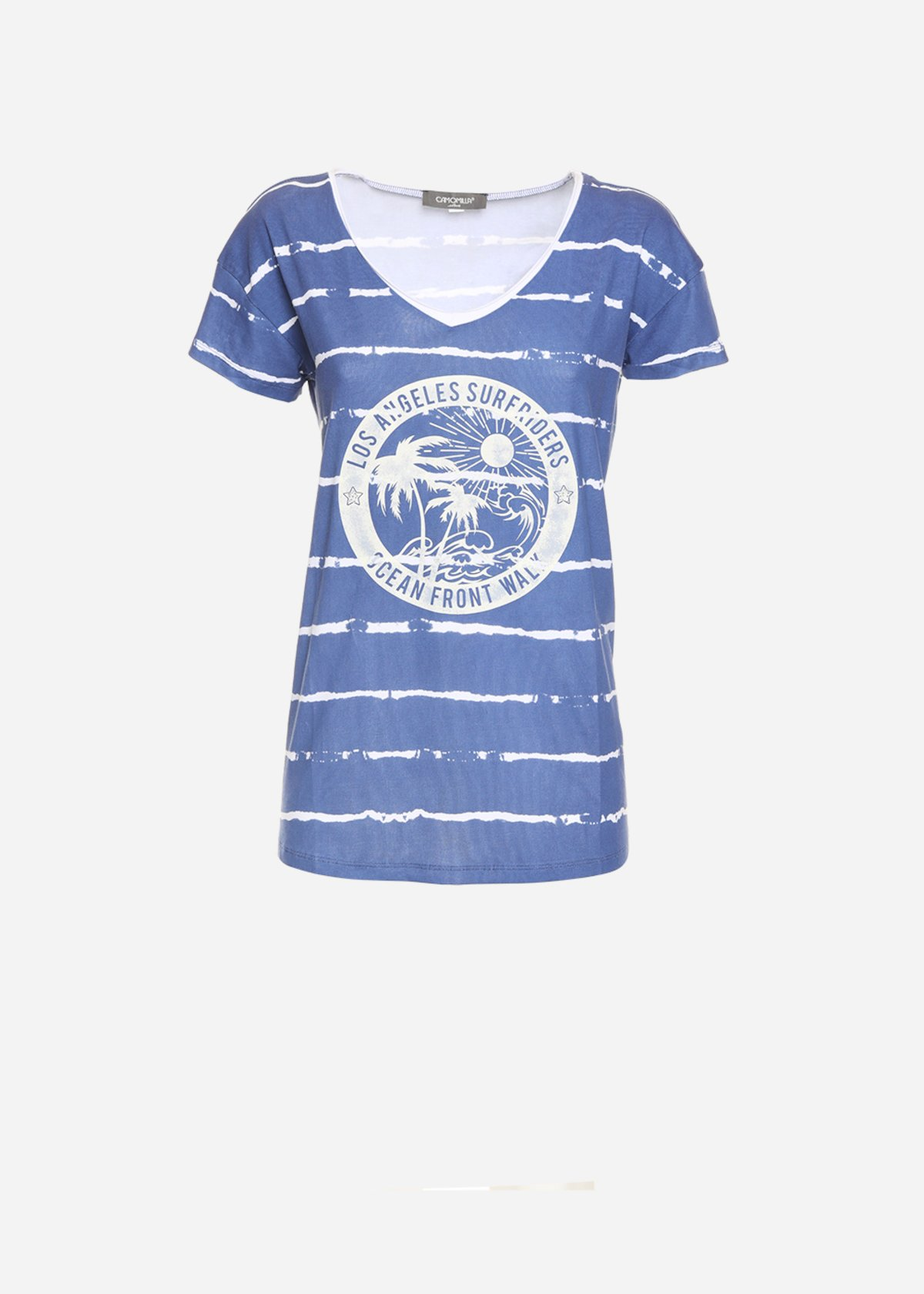 Soflan t-shirt with front print - Avion / White Stripes