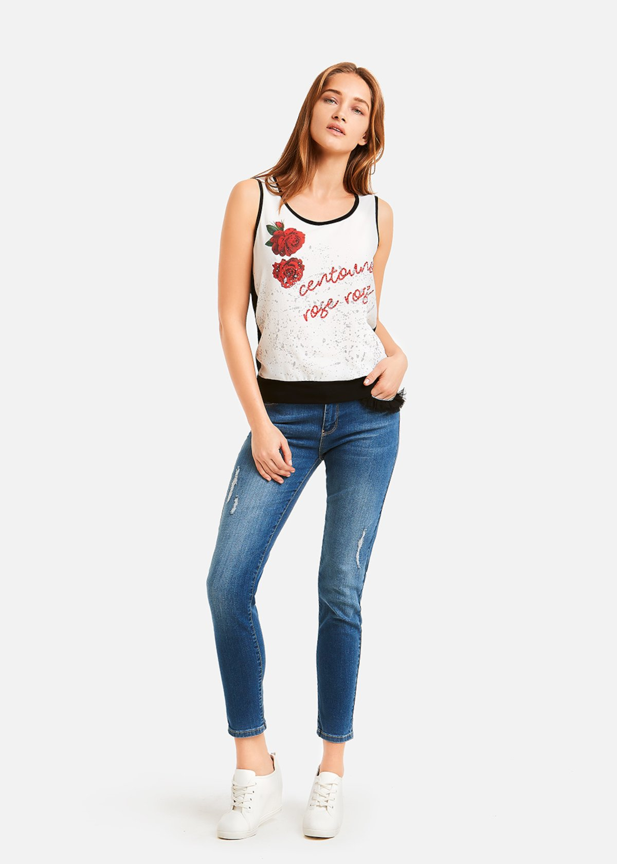 Top Timothy red roses print - Black / White