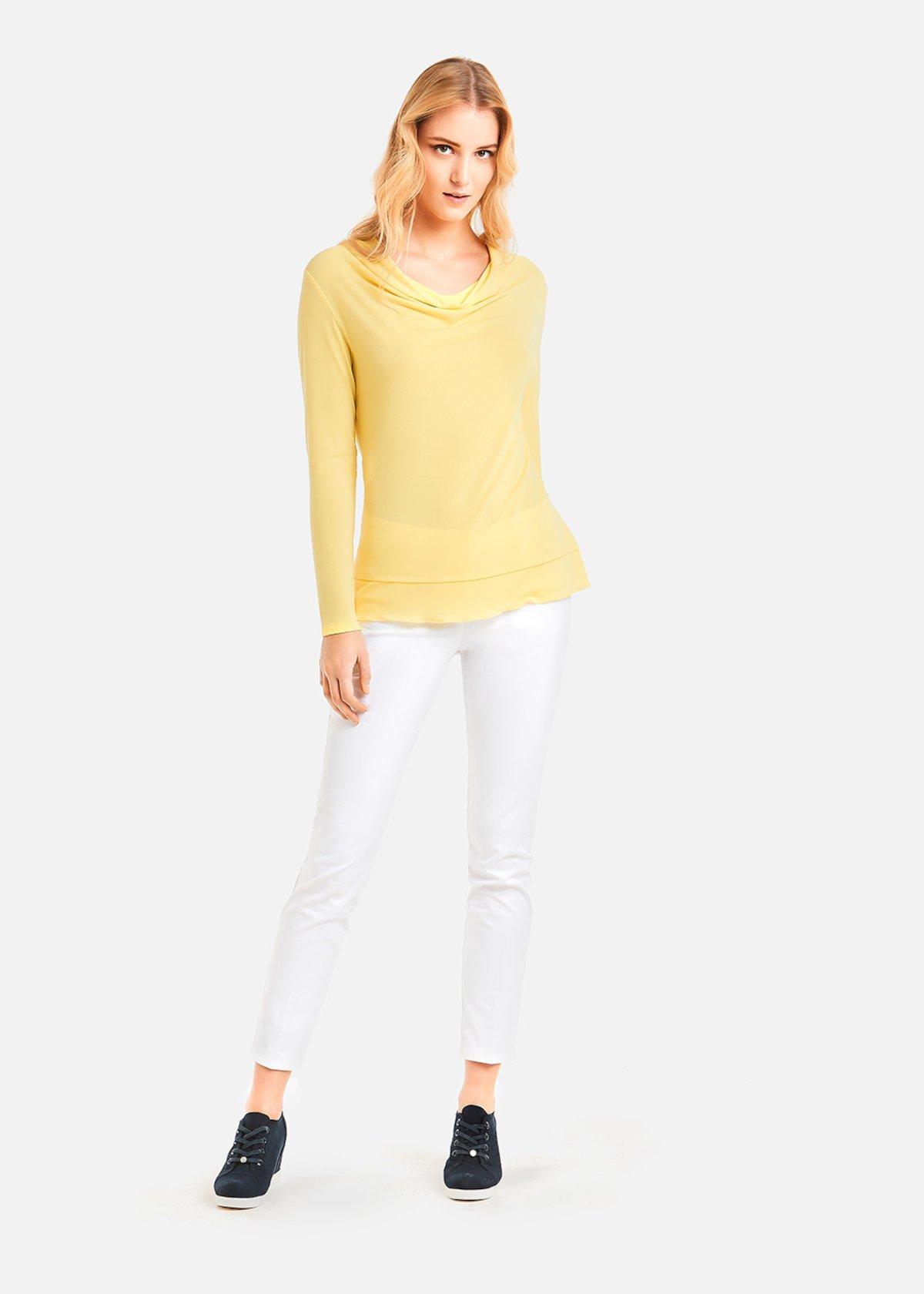 Sade hooded neckline t-shirt - Lemon