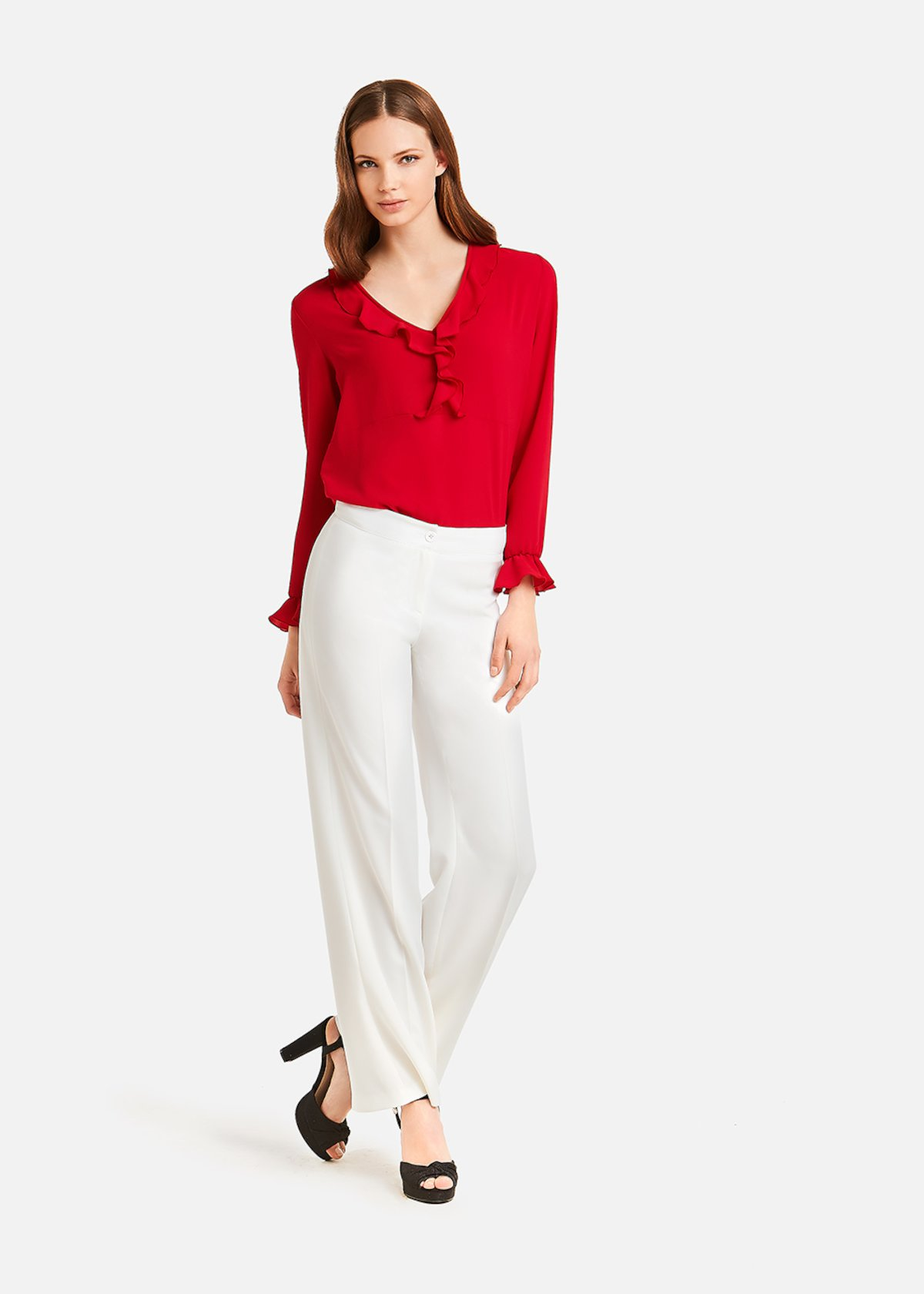 Connie V neck blouse - Rouge
