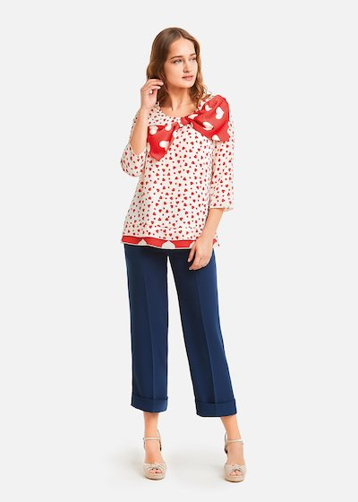 Calliope blouse with bow - White /  Poppy Fantasia