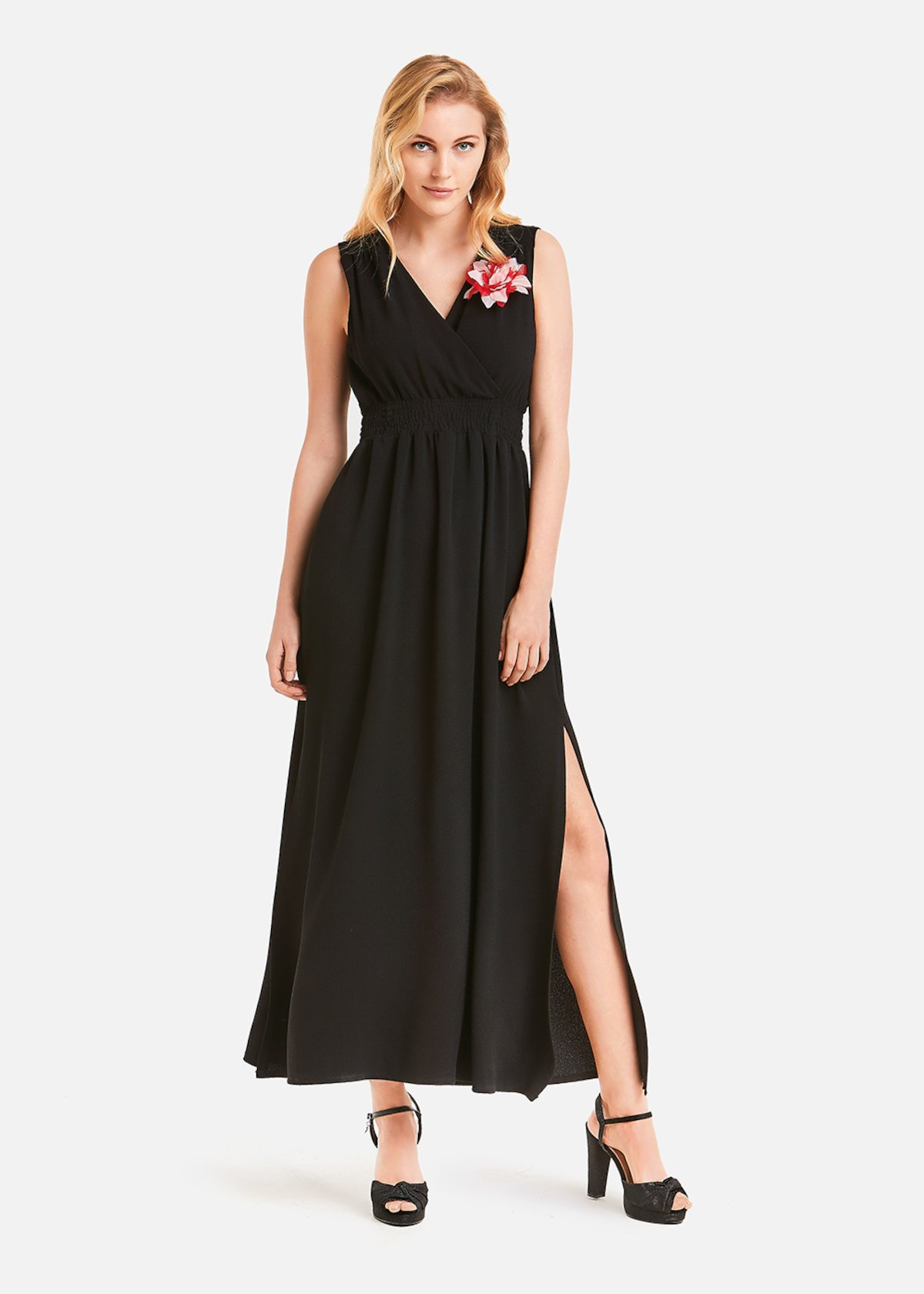 Amelie dress with removable flower - Black