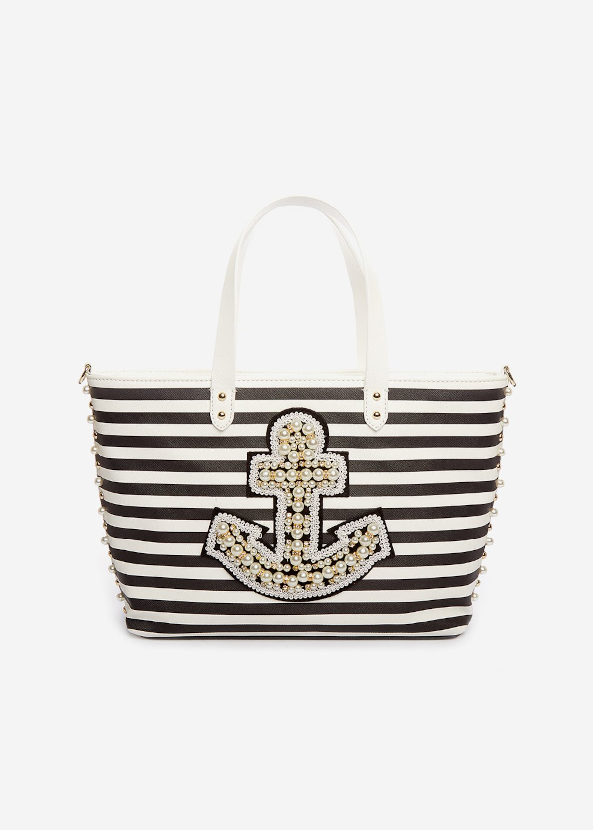 Shopping bag Bonnie a strisce con ancora di perline e tracolla removibile - Black / White Stripes