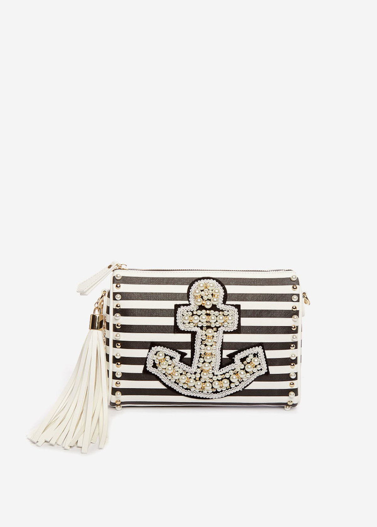 Pochette Bayl a strisce con ancora di perline - Black / White Stripes