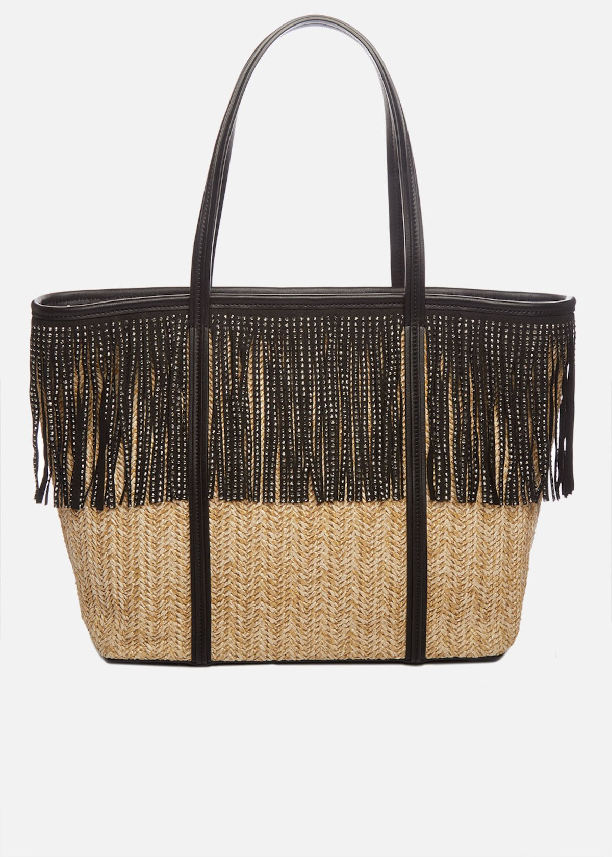 Shopping bag Bradley in raffia con frange di strass e tracolla removibile - Beige / Black