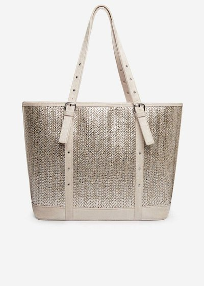 Shopping bag Brilliant in paglia silver