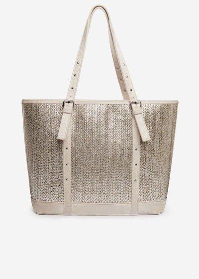 Silver straw Brilliant shopping bag