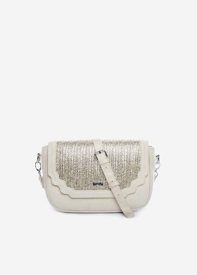 Bright handbag with silver straw flap - Light Beige