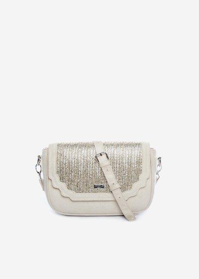 Bright handbag with silver straw flap