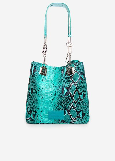 Minipiton faux leather shopping bag with chain handles - Emerald Animalier