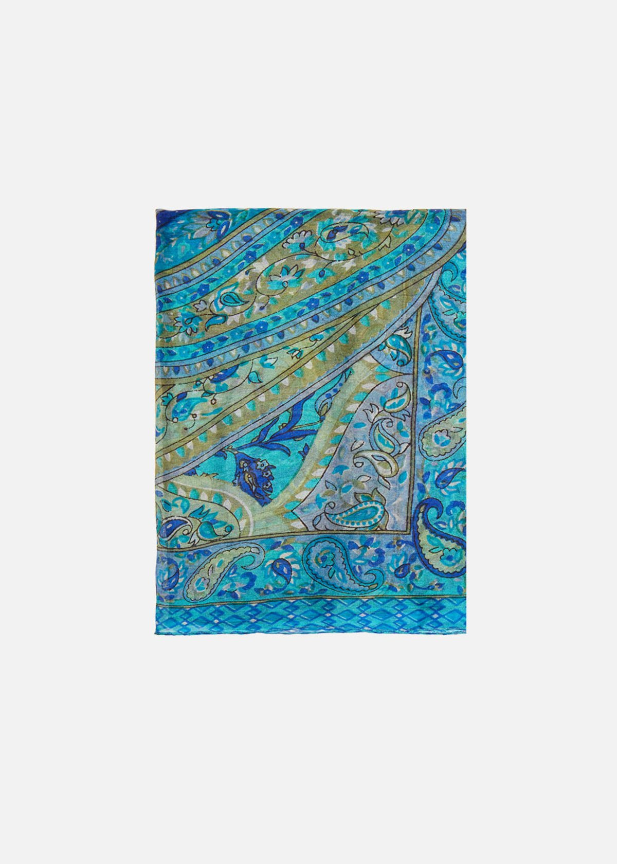 Indian multicolour print silk scarf Skey - Aquarius Fantasia
