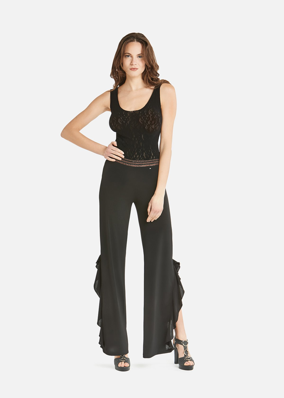 Peleo trousers with wide leg and side slits with rouches - Black