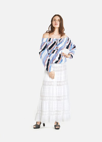 Gipsy long draped skirt - White