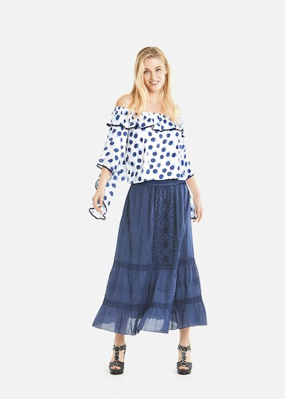 Giuly long skirt with flounces at the bottom