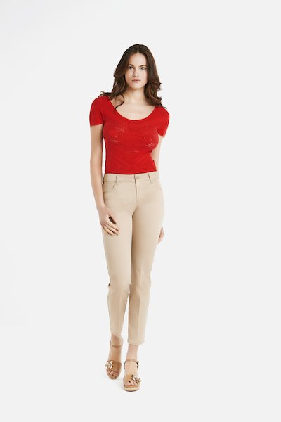 Kate trousers 5 pockets with narrow and short leg - Doeskin