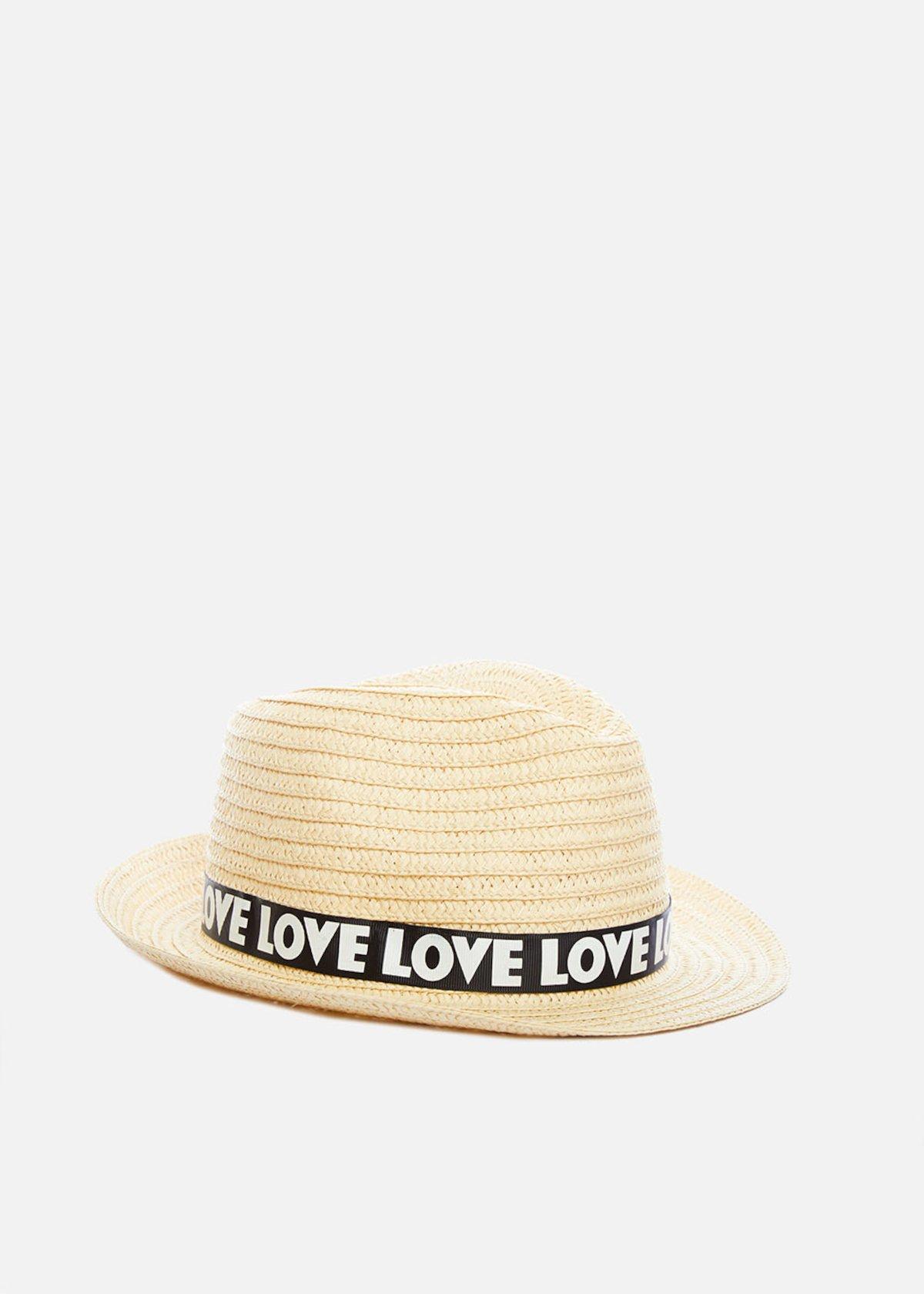 Paper hat natural color Craig con fascia stampa love