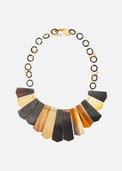 Celena bone necklace with rectangular pendants