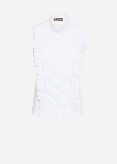 Catia poplin shirt with high collar and ruffles