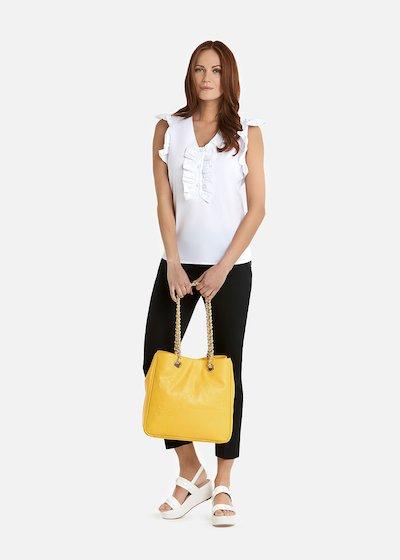 Camicia Candie in popeline con dettaglio rouches - White