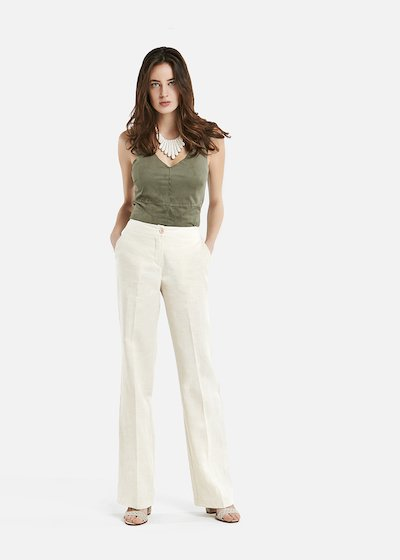 Paco lwide leg linen trousers - Light Beige