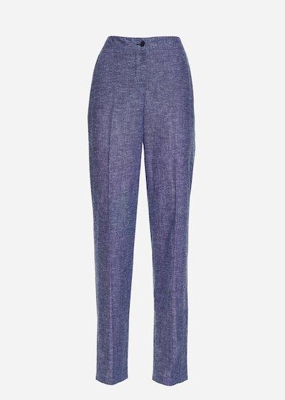 Patrik linen denim-effect trousers