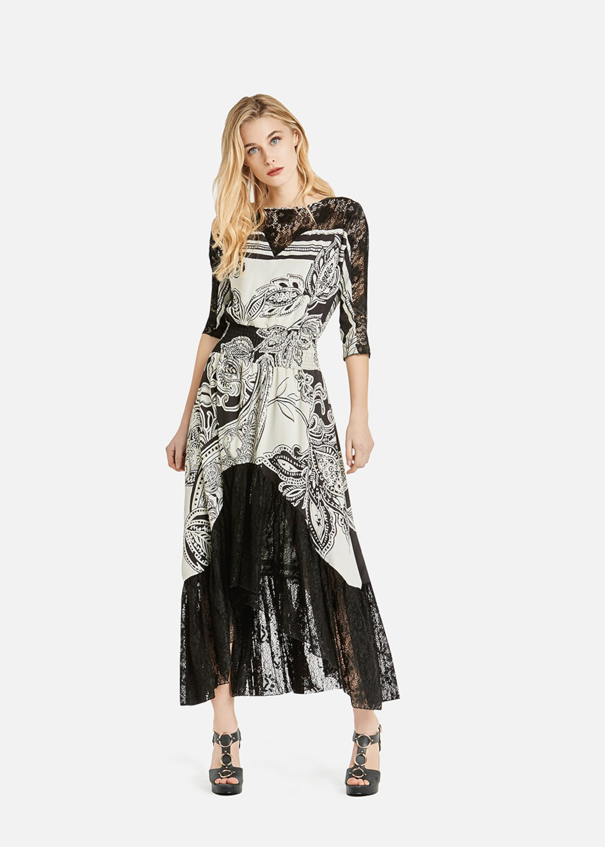 Andrea dress with exotic jungle fantasy - White / Black Fantasia