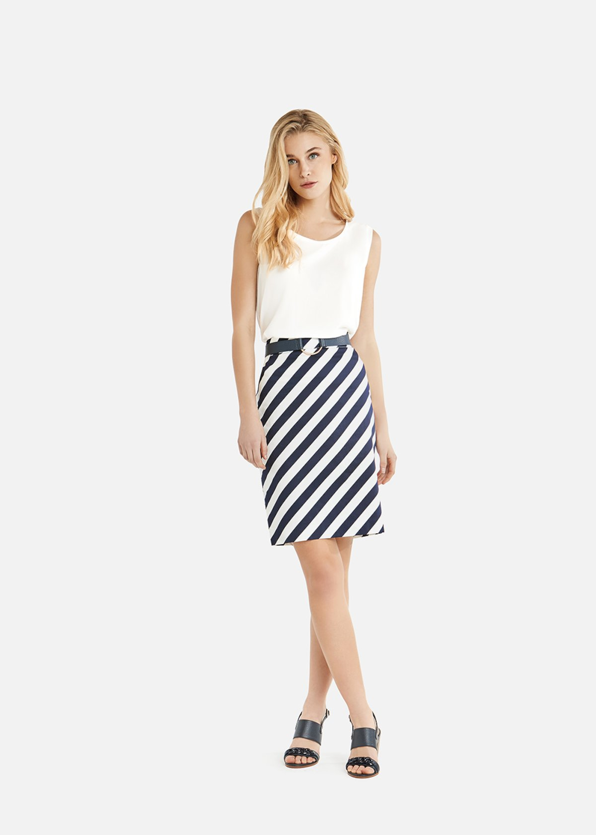 Judy stripes fantasy skirt with slit on the back - Medium Blue / White Stripes