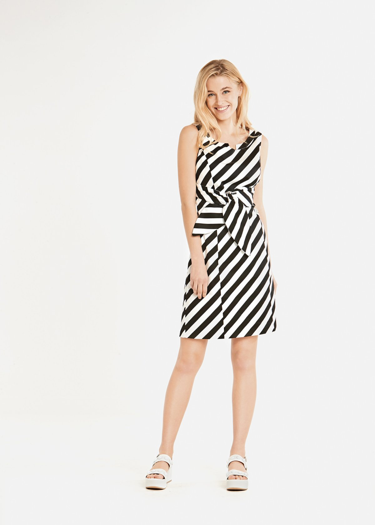 Audrey stripes fantacy dress with belt effect - Black / White Stripes