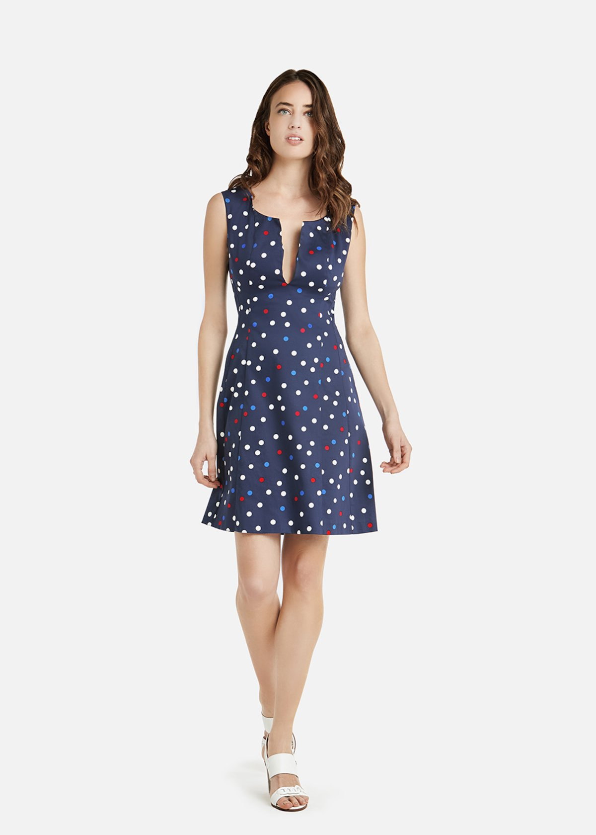 Axos multicolor polka dot dress with slit at the neckline