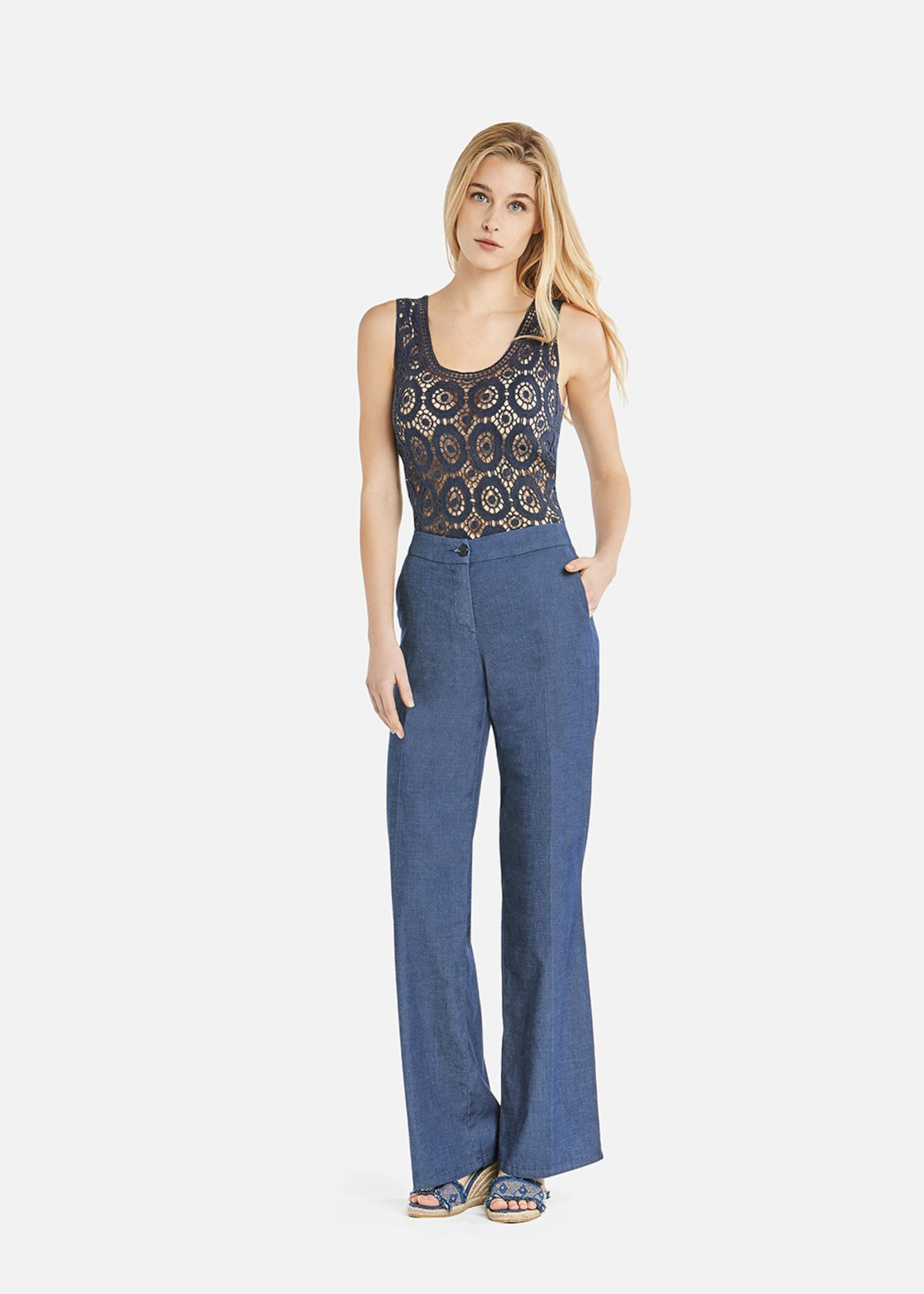 Portos trousers with wide leg in chambray - Denim