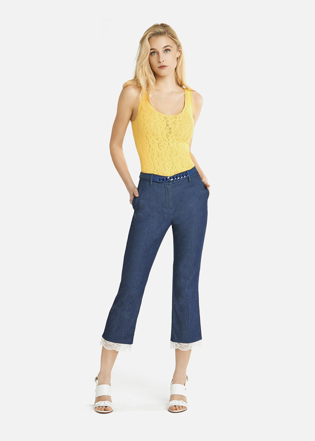Perry capri trousers in dark chambray with a white lace insert on the bottom of the leg - Denim