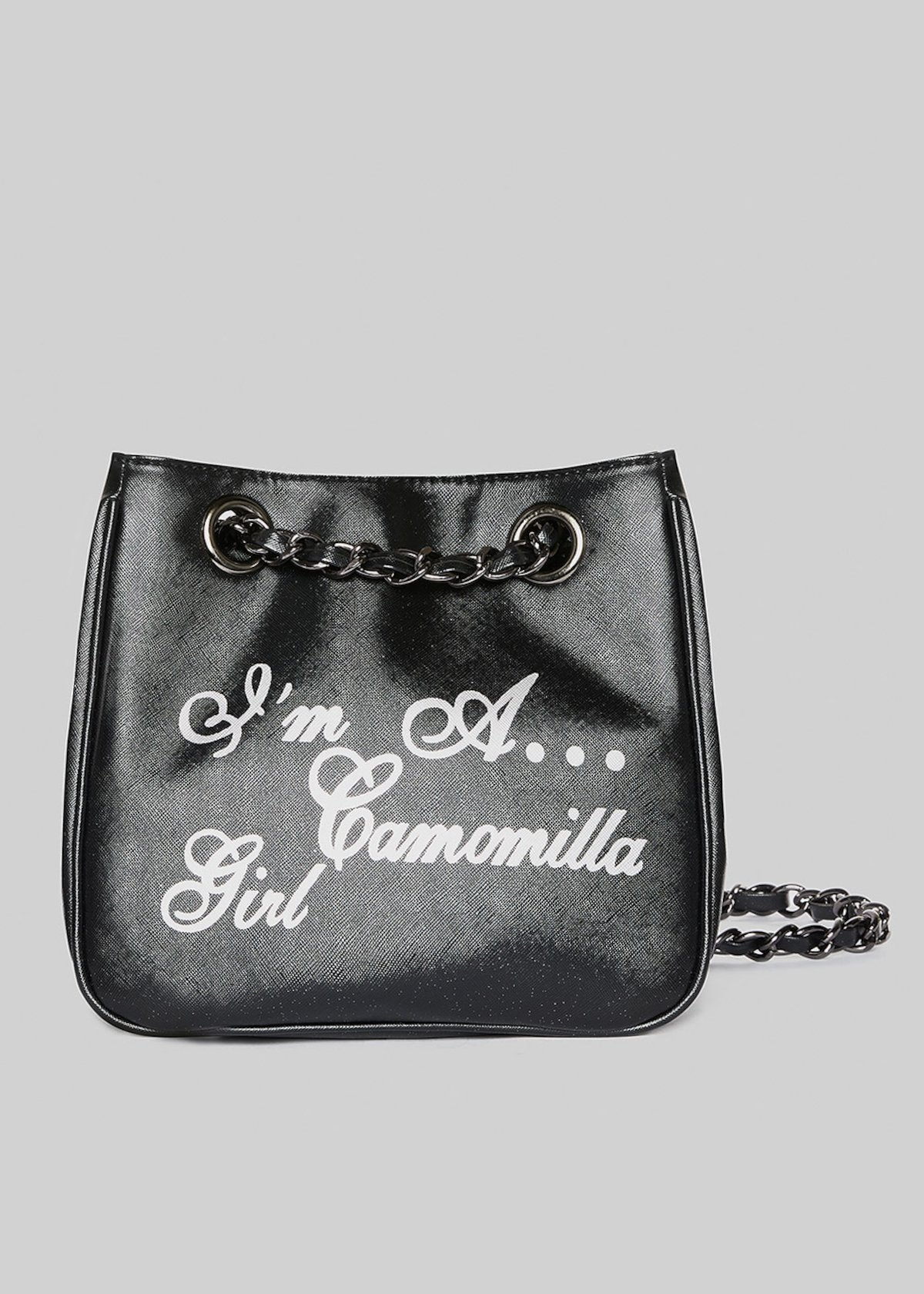 Mini-shopping bag Microsaff in ecopelle con manici a catena - Black