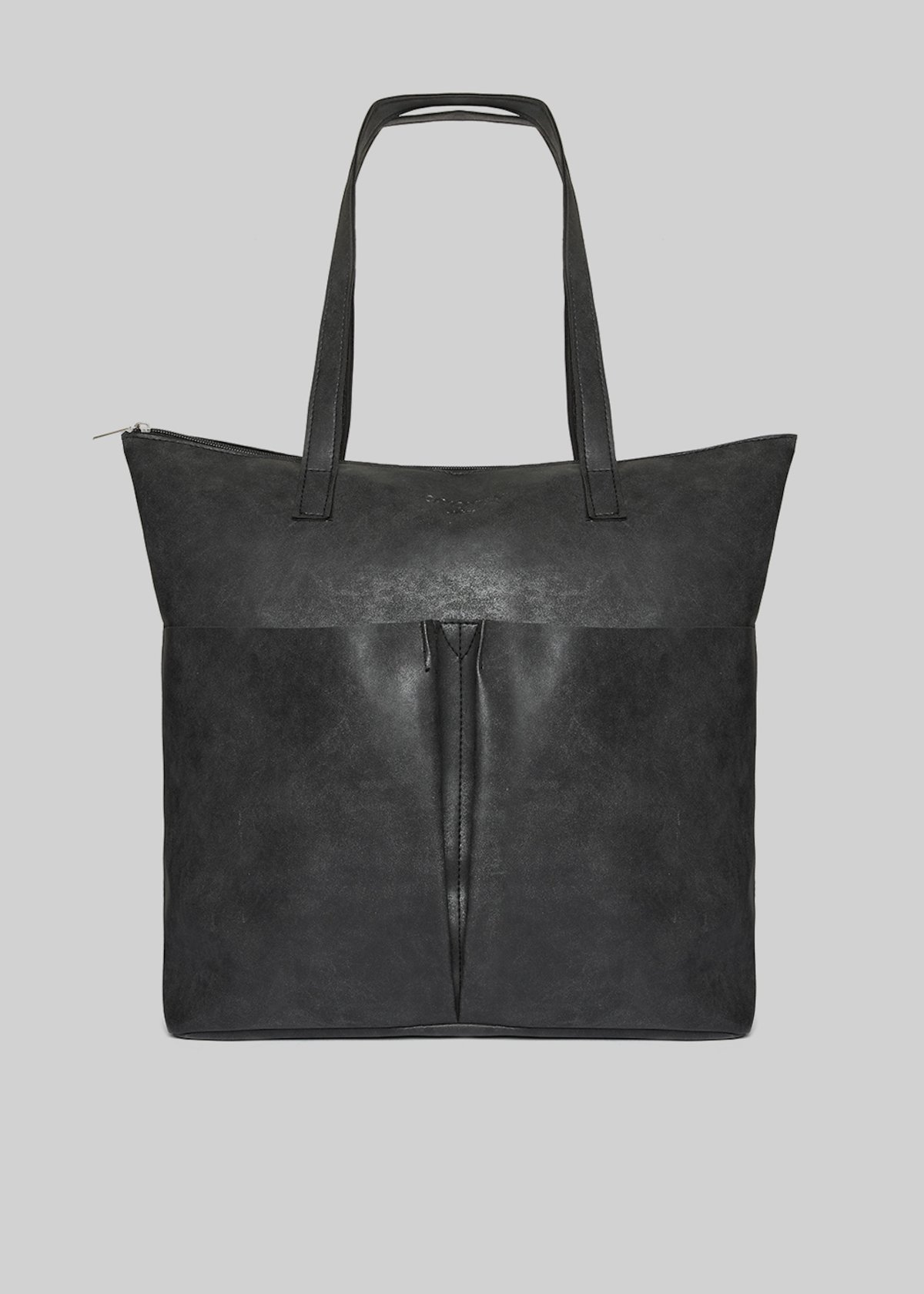 Baly faux leather shopping bag with 2 pockets on the front - Black