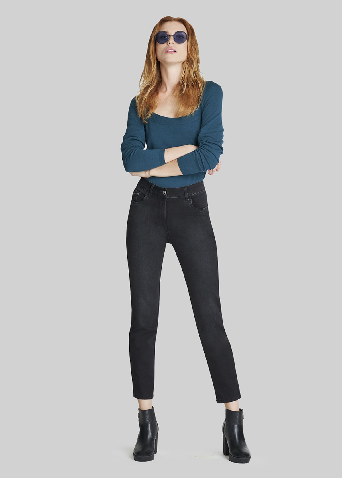 Denim Dagor trousers with rhinestones inserts - Black