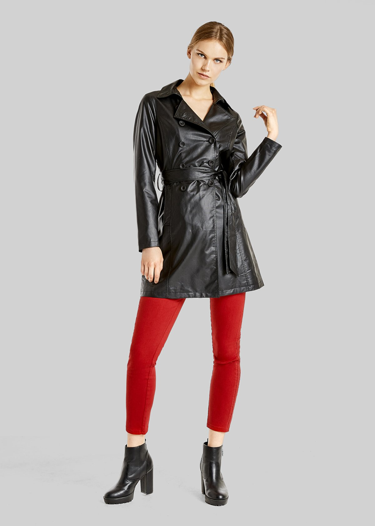 Trevor trench coat in double-breasted faux leather front with belt