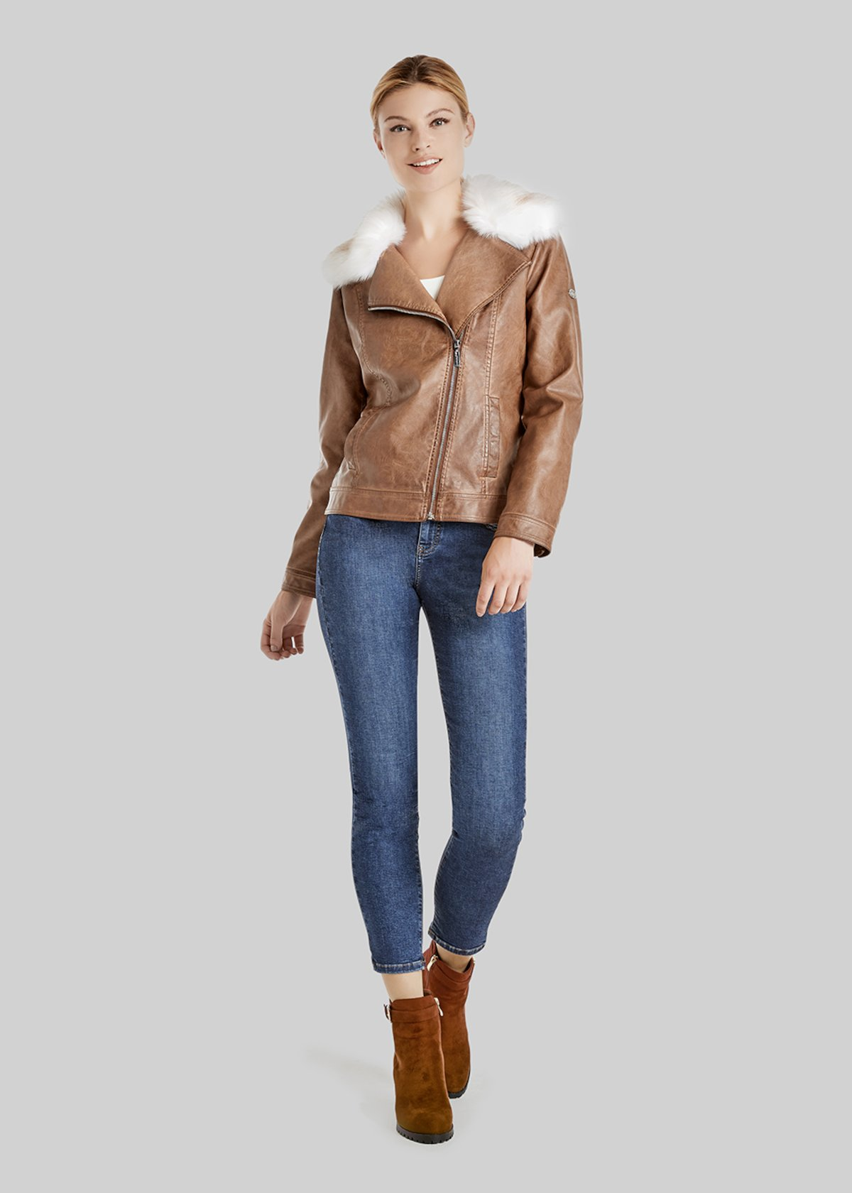 Greg short faux leather jacket, leather jacket effect with neck - Land