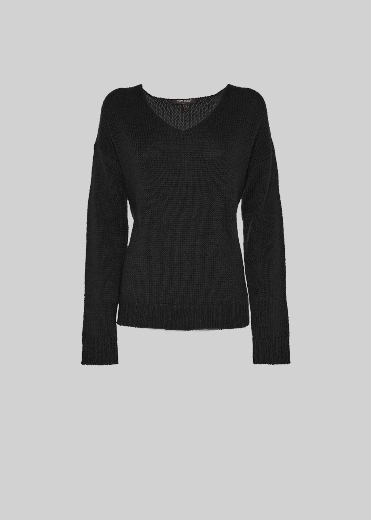 Marrie lurex effect sweater with V-neck - Black