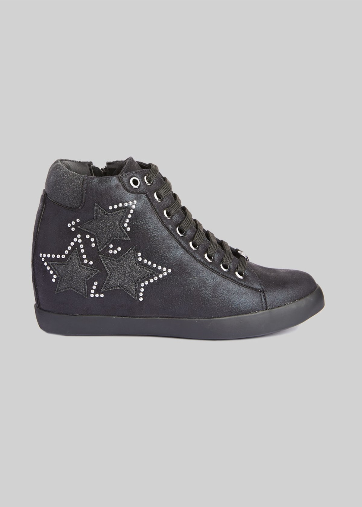 Faux leather and Microfiber sneakers with stars detail