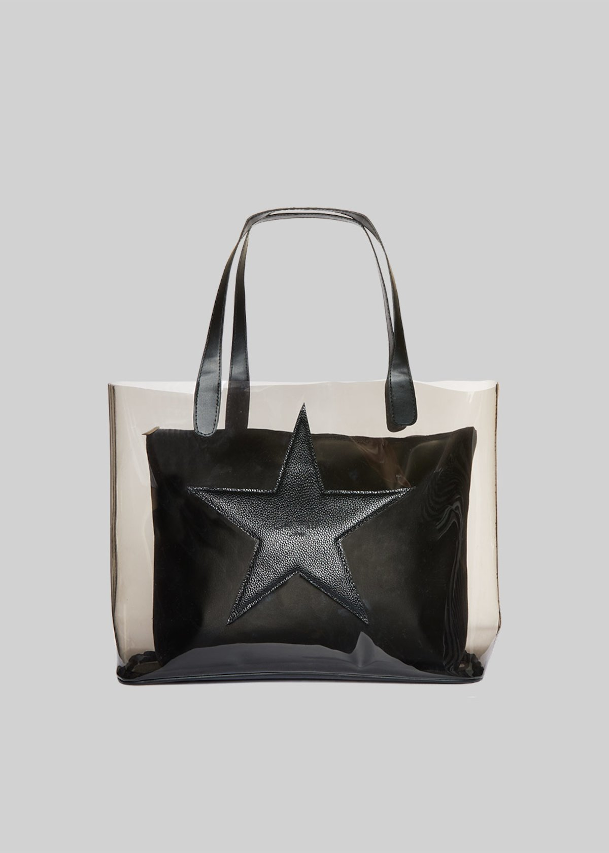 Beril Shopping bag with big star and inner handbag - Black