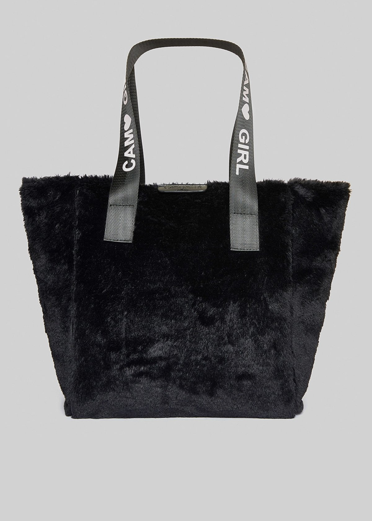 Fake fur Boris shopping bag with printed logo - Black