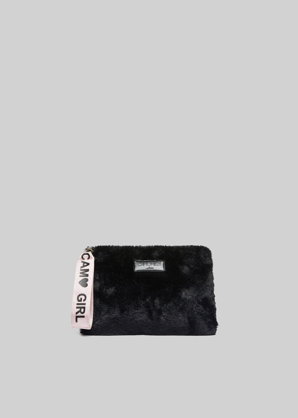 Clutch Beris in fake fur con manico in sepia color - Black